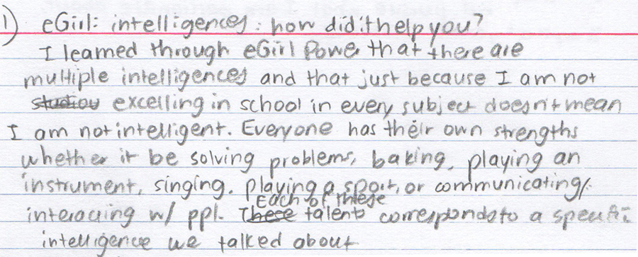 student writing about multiple intelligences